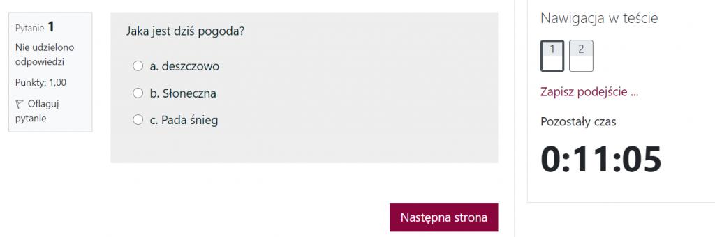 Po kliknięciu na Rozpocznij próbę zobacz pierwsze pytanie, Nawigację w teście i czas pozostały do zakończenia testu.