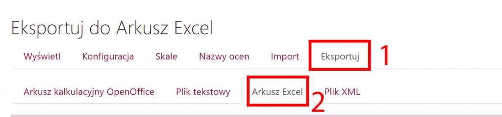 Eksport ocen do Excela